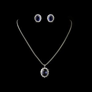Kate Middleton Inspired Sapphire Blue Wedding Bridal Prom Jewelry Set