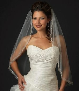 Ivory Couture Rhinestone and Crystal Edged Fingertip Length Wedding Veil V2078