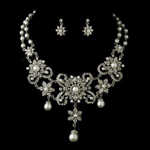 Bold White Pearl and Diamante Rhinestone Wedding Bridal Jewelry Set