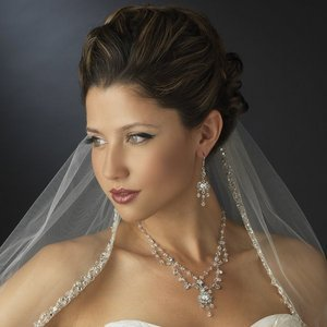 Elegant Crystal Bridal Jewelry Set Wedding Necklace and Chandlier Earrings