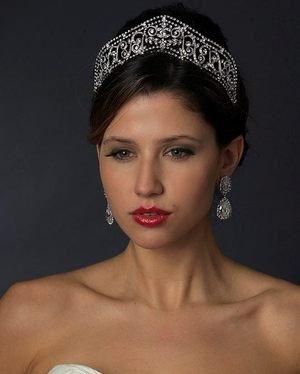 "Regal 2"" Diamante Rhinestone Silver Wedding Bridal Tiara Headpiece"
