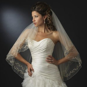 New Two Layer Ivory Fingertip Wedding Veil with Gold Embroidery