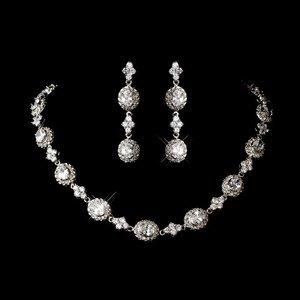 Antique Rhodium Silver Plated Cubic Zirconia CZ Wedding Jewelry Set
