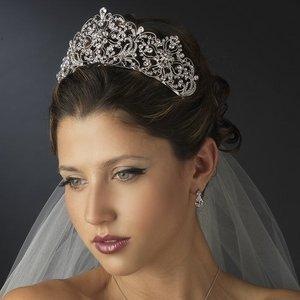 Antique Silver Rhodium Regal Wedding Rhinestone Bridal Tiara