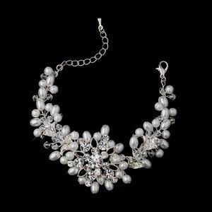 Stunning White Pearl and Diamante Crystal Wedding Bridal Bracelet