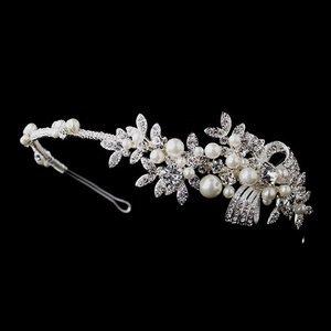 Elegant Pearl and Diamante Crystal Side Accent Bridal Wedding Headband