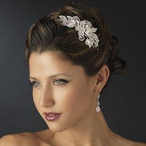 Silver Plated Crystal Diamante Floral Side Accent Bridal Wedding Headband