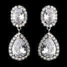 Glamorous Silver Plated CZ Clip On Wedding Earrings