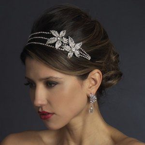 Exquisite Double Flower Diamante Rhinestone Bridal Headband Tiara