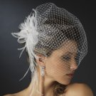 Ivory Rhinestone Birdcage Veil with Feather Fascinator Comb