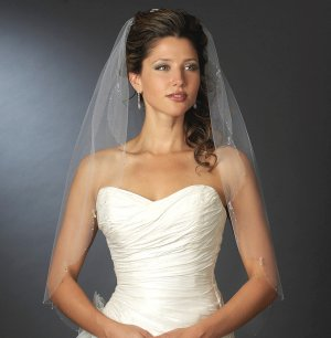 White Crystal Drop Fingertip Length Wedding Veil V114