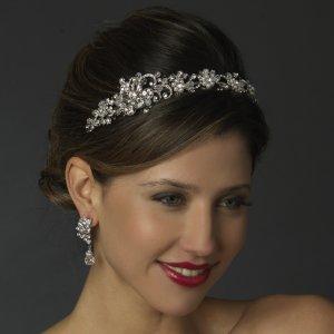 White Pearl and Crystal Wedding Bridal Tiara Headband