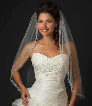 White Couture Rhinestone and Crystal Edged Fingertip Length Wedding Veil V2078