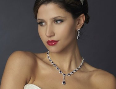 Blue Sapphire Rhinestone and CZ Wedding Bridal Jewelry Bridal Set