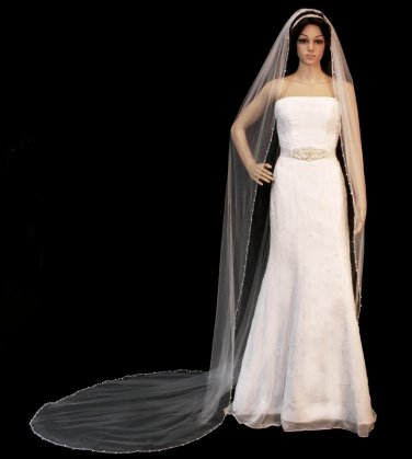 Crystal and Pearl Beaded Edge Cathedral Length Wedding Veil