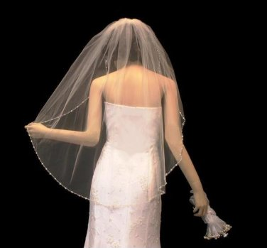 Crystal and Pearl Beaded Edge Fingertip Length Wedding Veil