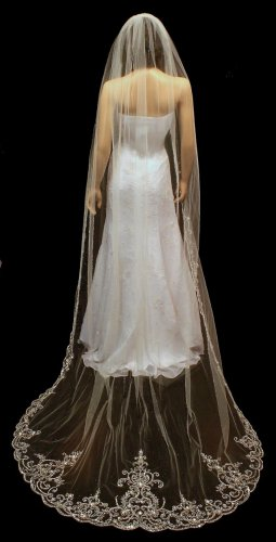 Stunning Beaded Embroidery Cathedral Length Wedding Veil