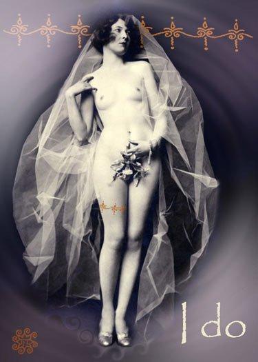 ACEO Art Card Bride HennaToo Girls Vintage Nude I Do