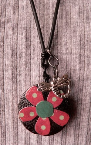 Necklace w/ Wood Pendant and Dragonfly Charm