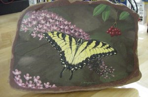 BUTTERFLY IN FLIGHT**ORIGINAL SANDSTONE PAINTING**SIGNED