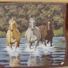 GALLOPING HORSES THROUGH STREAM**ORIGINAL SANDSTONE PAINTING**SIGNED