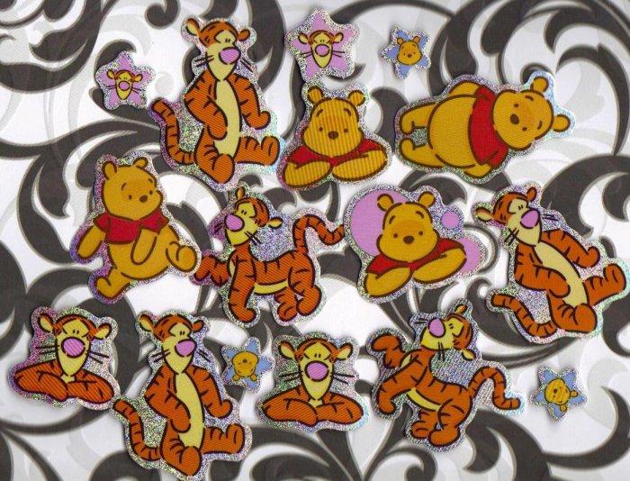 Winnie the Pooh & Tigger glitter foil large sticker flakes Lot # S3