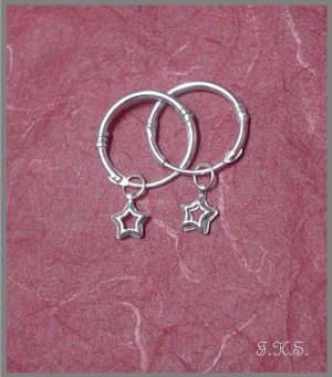 Silver 925 Loop Earrings with Hanging Stars