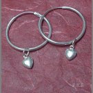 Silver 925 Loop Earrings with Dangling Hearts