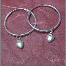 Silver 925 Loop Earrings with Dangling Hearts