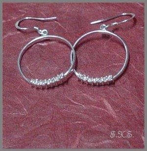 Silver 925 Hanging O Earrings with Swarovski Mini-Stones