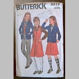 VINTAGE SEWING PATTERN~Girls' Jacket/Vest/Skirt/Pants~size 7~Butterick #3312 (1970s)~UNCUT