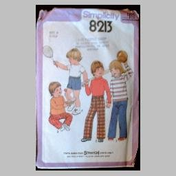 VINTAGE SEWING PATTERN~Toddlers' Shirts/Tops & Pants/Shorts~size 4~Simplicity #8213 (1977)