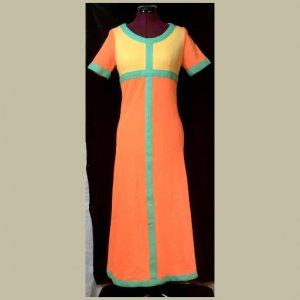 Unique VINTAGE & HANDMADE DRESS~Bright Vivid Colors~Long~Orange/Yellow/Green~size XS/S