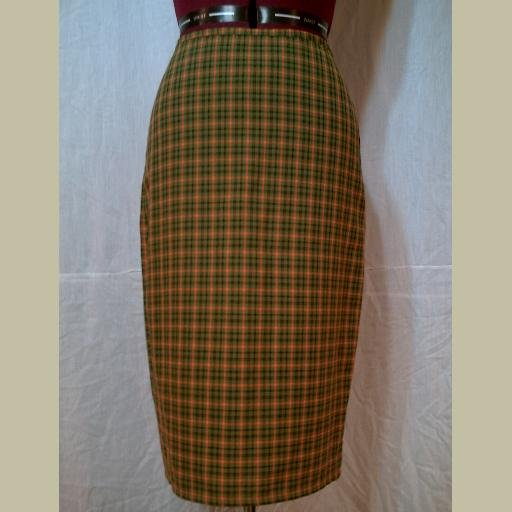 ~Green & Orange~PLAID SKIRT~Straight & below Knee~Casual/Career~Possibly Goth