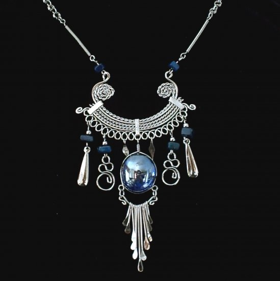 "NEW~""MIDNIGHT DREAM""~Handmade Peruvian NECKLACE ~Alpaca Silver ~ Murano/Cascajo beads ~Jewelry"