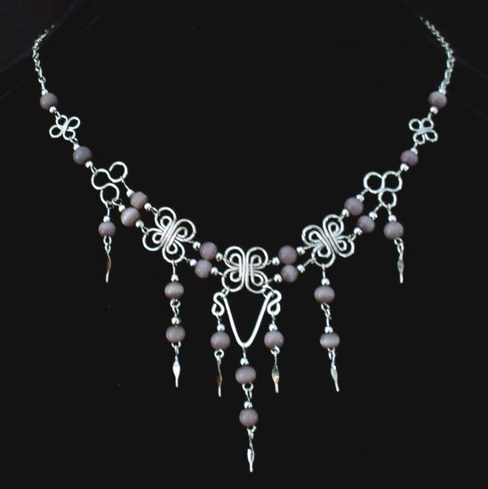 "NEW~""LAVENDER BEAUTY""~Handmade Peruvian NECKLACE ~Alpaca Silver ~Cat's Eyes beads ~Jewelry"