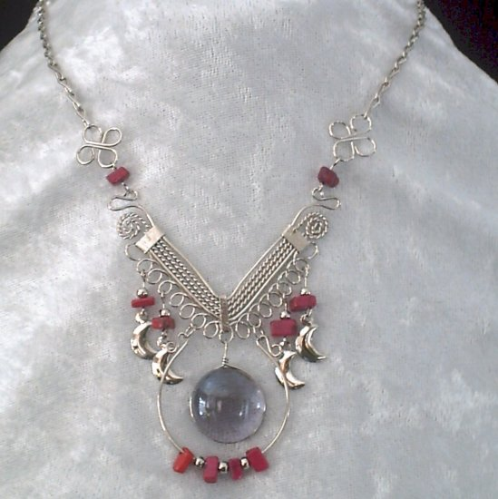 "NEW~""MAGENTA MOONS""~Handmade Peruvian NECKLACE ~Alpaca Silver ~Murano/Cascajo beads ~Jewelry"