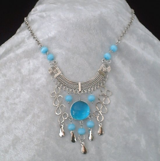 "NEW~""SEA MIST""~Handmade Peruvian NECKLACE ~Alpaca Silver ~Murano/Cat's Eyes beads ~Jewelry"