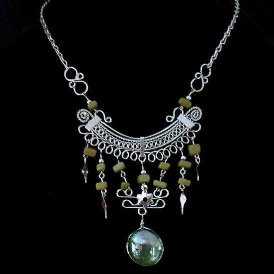"NEW~""IRISH FANCY""~Handmade Peruvian NECKLACE ~Alpaca Silver ~Murano & Cascajo beads ~Jewelry"