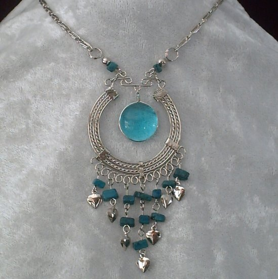 "NEW~""EYE OF ISIS""~Handmade Peruvian NECKLACE ~Alpaca Silver ~Murano/Cascajo beads ~Jewelry"
