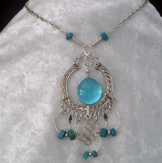 "NEW~""EYE OF THE SEA""~Handmade Peruvian NECKLACE ~Alpaca Silver ~Murano/Cascajo beads ~Jewelry"
