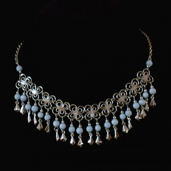 "NEW~""DAISY CHAIN""~Handmade Peruvian NECKLACE ~Alpaca Silver Jewelry ~Cat's Eyes beads ~Jewelry"
