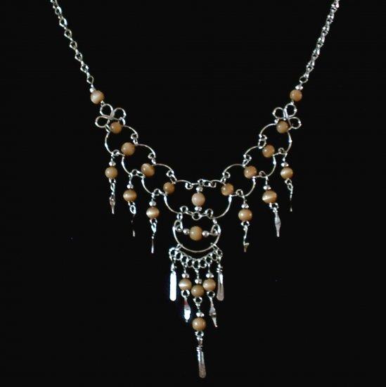 "NEW~""GOLDEN DREAMS""~Handmade Peruvian NECKLACE ~Alpaca Silver ~Cat's Eyes beads ~Jewelry ~Jewelry"