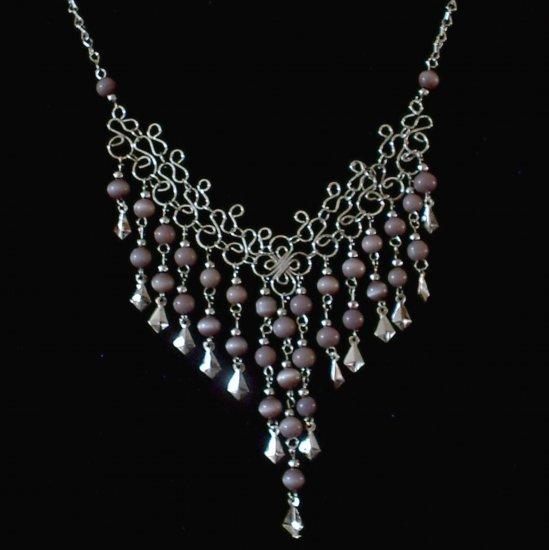 "NEW~""VIOLET CASCADES""~Handmade Peruvian NECKLACE ~Alpaca Silver Jewelry ~Cat's Eye beads ~Jewelry"