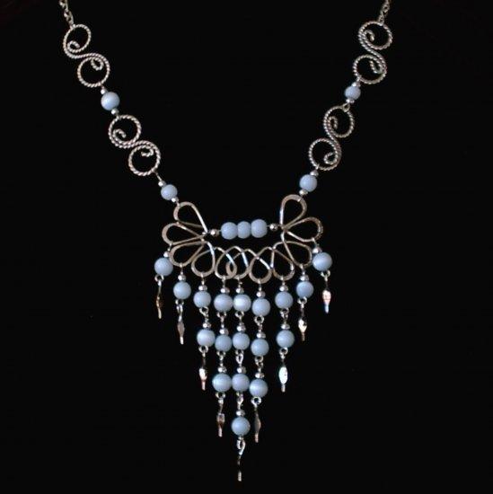 "NEW~""BLUE ANGEL""~Handmade Peruvian NECKLACE ~Alpaca Silver ~Cat's Eyes beads ~Jewelry"