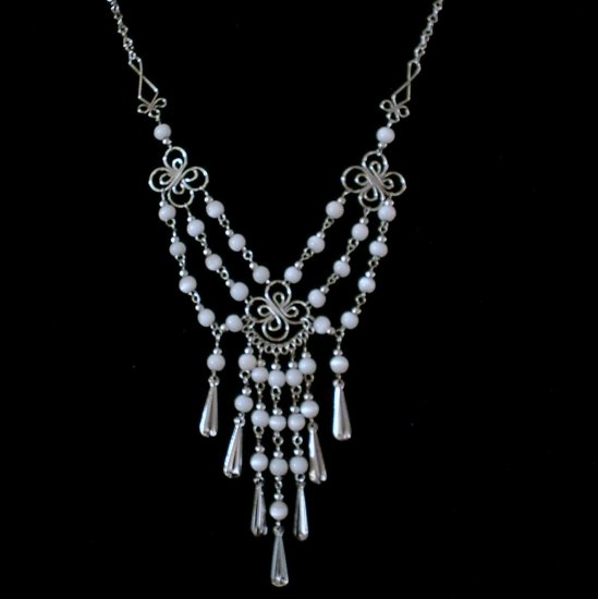 "NEW~""VICTORIAN GARLANDS""~Handmade Peruvian NECKLACE ~Alpaca Silver Jewelry ~Cat's Eye beads"