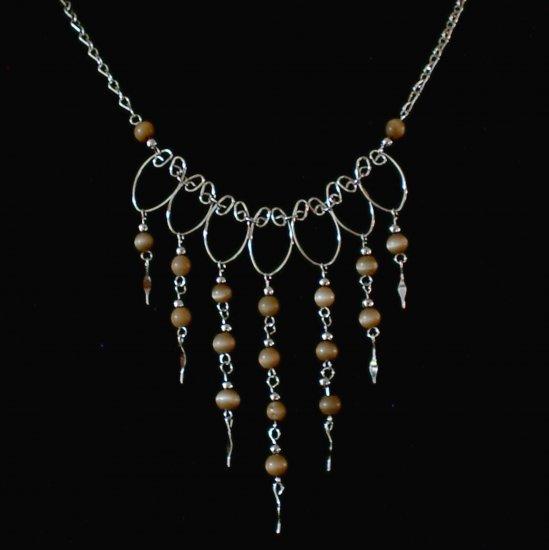 "NEW~""AUTUMN GOLD""~Handmade Peruvian NECKLACE ~Alpaca Silver Jewelry ~Cat's Eyes beads"