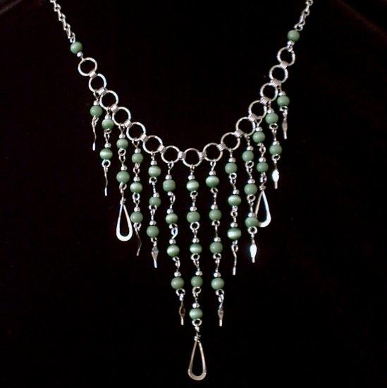 "NEW~""EMERALD CASCADES""~Handmade Peruvian NECKLACE ~Alpaca Silver Jewelry ~Cat's Eye beads"
