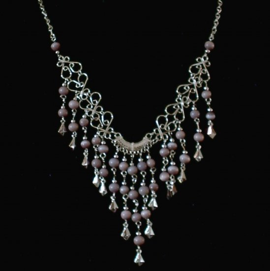 "NEW~""VIOLET VALENTINE""~Handmade Peruvian NECKLACE ~Alpaca Silver Jewelry ~Cat's Eye beads"