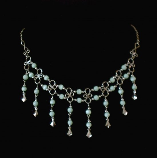 "NEW~""CELTIC CASCADES""~Handmade Peruvian NECKLACE ~Alpaca Silver Jewelry ~Cat's Eyes beads"
